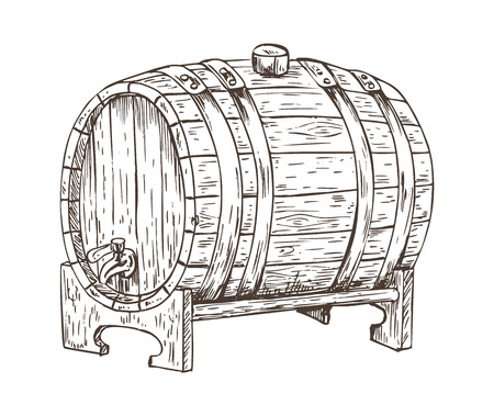 Beer Barrel Vintage Keg Sketch Vector Illustration Reklamní fotografie