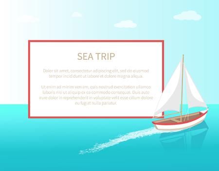 Sea Trip Poster Frame Modern Yacht Marine Ship Stok Fotoğraf