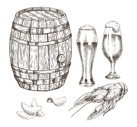 Wooden Keg Beer Goblets and Appetizer Graphic Art