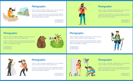 Photographer Services Online Banners with Text Stok Fotoğraf