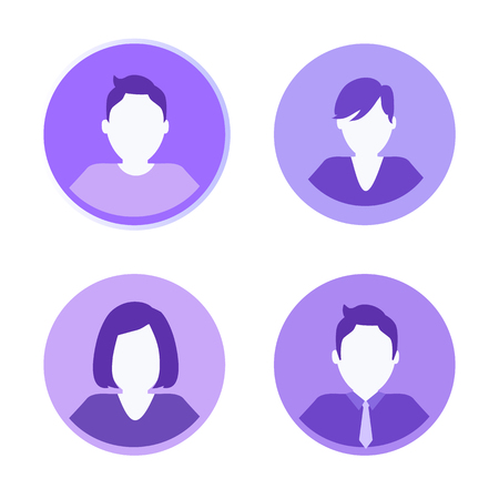 Social network people isolated icons set. Woman and man wearing tie and formal suit. Businessman males and female profile, human circle shape vector Vetores