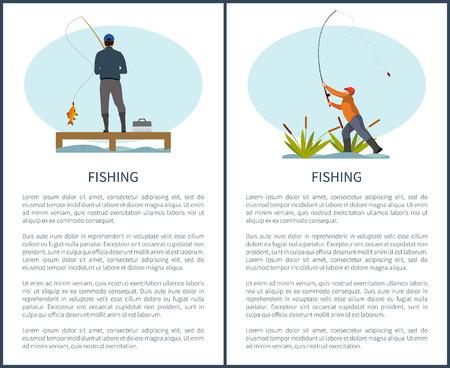 Afiche de actividades deportivas o pasatiempos de pesca o pesca con muestra de texto. Hombre con spinning y pescado en el muelle o muelle y gyojin en caña tirando caña.