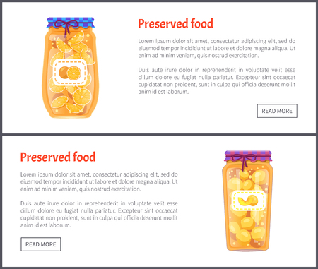 Preserved food banners, fruit jam or compote set. Sweet orange and ripe peach in juice inside jar web page template with text vector illustrations.