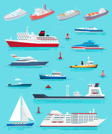 Water transport different kinds of ships and vessels vector. Cruise liner, yacht and sailing boat, cargo transportation. Buoys and voyages tours set Banco de Imagens - 127385778