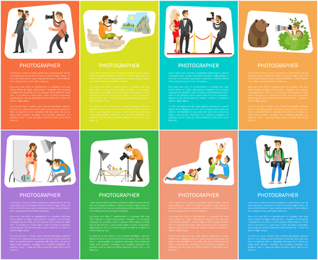 Photographers banners, wedding photo, landscape picture, celebrity couple, animal shooting, studio model, still life and family vector illustration.
