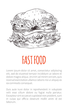Fast food burger with vegetable, cutlet and cheese slice stuffing. Takeaway or carry-out meal poster with sketch hamburger for snackbar or restaurant.