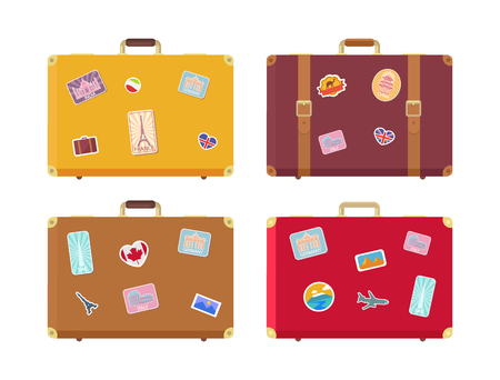 Luggage traveling bags with stickers isolated icons vector. Canada flag and Egyptian pyramids, Rome and UAE highest building, seaside sign airplane Ilustracja