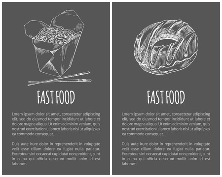 Fast food donut and noodles posters with text sample set. Package with Japanese Chinese food with chopsticks monochrome sketch outline icon vector