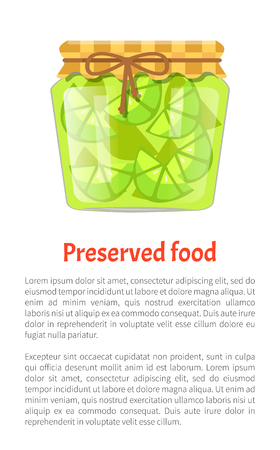 Preserved food poster lime or lemon home cooked jam or marmalade in small glass jar. Citrus confiture in decorative container vector illustration.