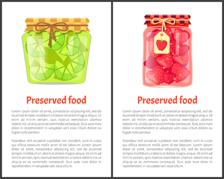 Preserved food poster lime or lemon and strawberries home cooked jam or marmalade in small glass jars. Citrus confiture in decorative container vector