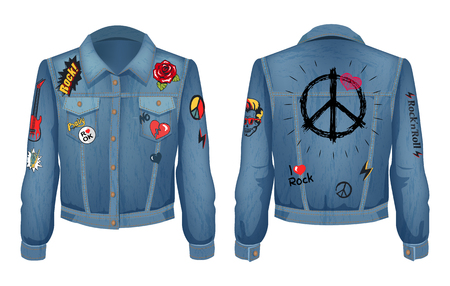 Peace sign on back of jacket made of denim cloth. Jeans shirt with patches of flowering roses, electric guitars and skull, set vector illustration