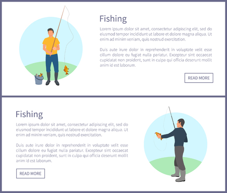 Fishing fisherman with rod and fish vector illustration. Standing fishers with fish-rods, just caught crucian and full bucket isolated on landscape
