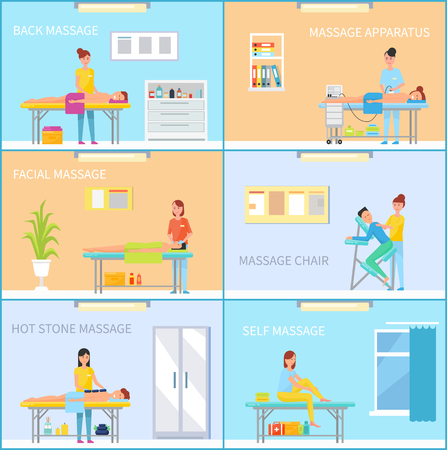 Back and Self Massage Care Posters Set Vector Illustration