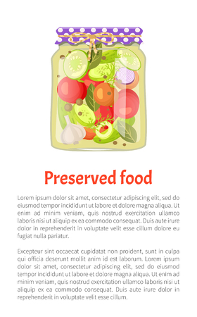 Preserved food poster canned pickled vegetable mix in glass jar with rustic lid vector. Zucchini and tomato, onion and cucumber with dill and garlic
