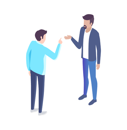 People analyst and manager have discussion cartoon banner vector set. Men in classic suits discussing issues gesturing 3d models side view under angle