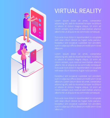 People playing video games in glasses virtual reality vector banner, text sample. Girl and boy in front of screens and having fun, standing on column