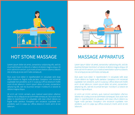 Hot stone therapy technique and apparatus massage equipment. Posters set with text sample, expert woman masseuse and people on table relaxing vector