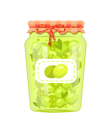 Olives preserved food in glass jar vector icon isolated on white. Traditional mediterranean cuisine pickled marinated veggies, homemade canned snack