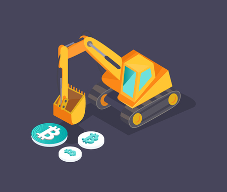 Bitcoin dollar and euro isolated icons isometric 3d set. Crane machinery mining cryptocurrency and money. Commerce and investment business vector