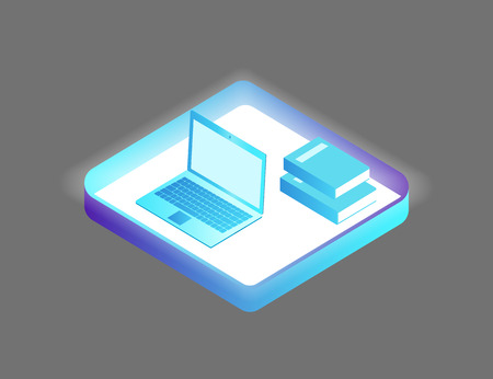 Laptop and books set of isolated isometric 3d icons vector. Handbook and personal computers for general usage. Publishing and notebook gadgets device Illustration