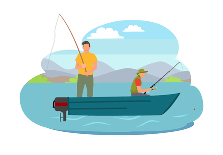 Fishing fisherman from motorboat vector illustration. Standing and sitting fisher with fish-rod, in sportswear isolated on landscape sport theme.