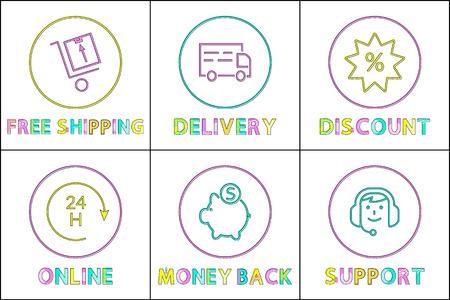 Color Icon Set in Linear Design for E-Commerce Stock Photo