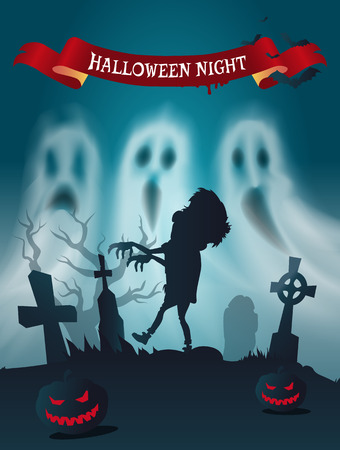 Happy Halloween Cemetery with Zombie Poster Vector