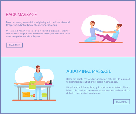 Back and Abdominal Massage Therapy Set Vector Imagens