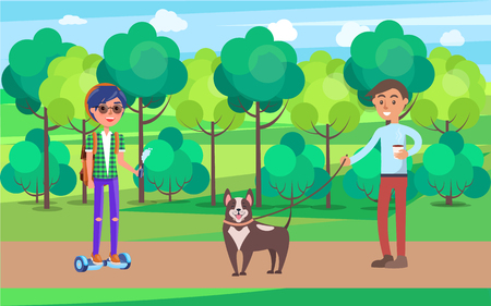 Students in Park Walking Dog on Leash Pet Vector