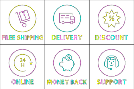 Round-the-clock support, discounts and money back or refund, delivery terms and free shipping minimalistic icon set in line design for e-commerce. 向量圖像