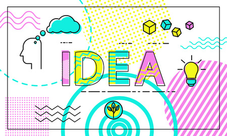 Idea poster with headline pattern on background, human thinking of concepts, light bulb, growing green plant in pot, framed banner vector illustration