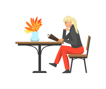 Woman lady, customer of cafe reading menu ready to order meal or beverage. Wooden table with decorative leaves trees. Female at coffee shop vector