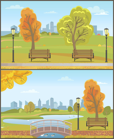 Autumn autumnal park with cityscape set vector. Trees leaves, bridge with lake and goose birds floating. Wooden benches, lanterns and skyscrapers Illustration