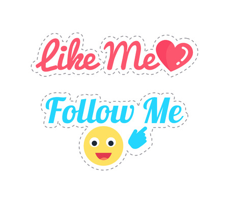 Follow and Like Me Stickers Isolated Patch Vector