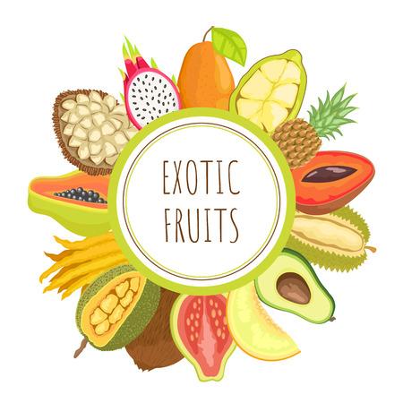Exotic fruits papaya poster text and organic products vector. Tropical meal pitaya and avocado, durian and citron slices, melon and pineapple marang