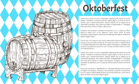 Two big wood barrel of draft beer hand drawn vector illustration for Oktoberfest advertisement on traditional event flag backdrop with text sample. Ilustrace