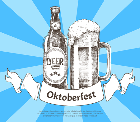 Oktoberfest banner with beer bottle and goblet isolated on striped blue background vector illustration advertising card of event with foamy ale in cup