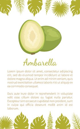 Ambarella Exotic Juicy Fruit Vector Poster Text
