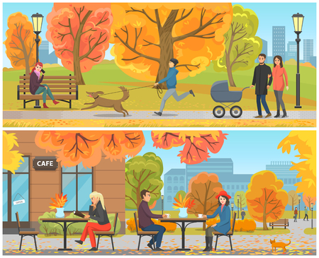 Cafe with tables and clients city park set vector. People drinking coffee and hot tea, lady reading menu. Male walking dog, family with pram and child