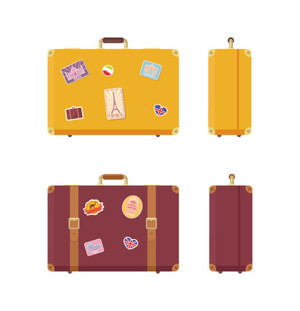 Luggage journey and vacation valises set vector. Traveling baggage, cases with stickers of Egyptian camel, Eiffel Tower and Indian Taj Mahal Germany Illustration