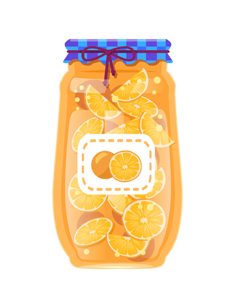 Labeled glass jar with preserved oranges. Citrus fruit conserve in bottle with rustic decorated textile lid and marker sticker vector illustration.