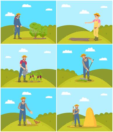Apiculteur et agriculteur avec râteau répandant du compost sur le sol. Alimentation des poulets, garde des porcelets. Tracteur et camion vecteur de machines agricoles Vecteurs