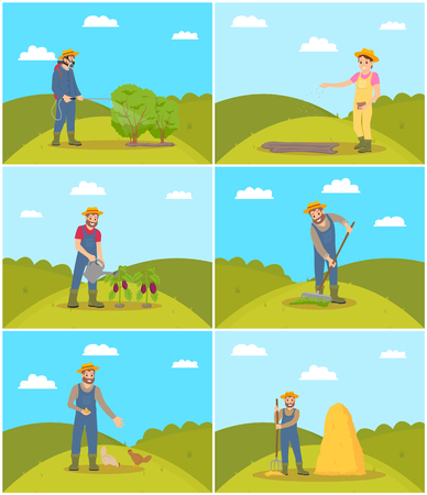 Beekeeper and farming man with rake spreading compost on ground. Chicken feeding, piglet hens tending. Tractor and lorry agricultural machines vector Çizim