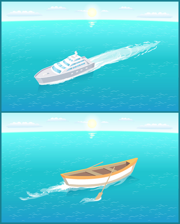 Fishing boat with oars leaves trace in sea or ocean, marine traveling vessel. Passenger liner sailing in voyage trip. Fisher ship in deep blue waters