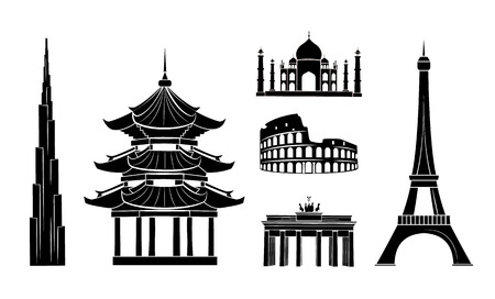 Travel Stickers with Sights Dark Silhouettes Set