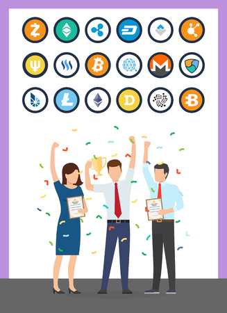 Bitcoin currency cryptocurrency isolated icons vector. Successful start up and financial profit of people celebrating. Monero and dogecoin litecoin