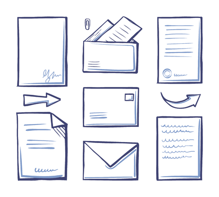 Office papers and documentation in envelopes vector. Letters with messages and pointers, postal elements with information. Send documents with data Stock fotó - 127385855