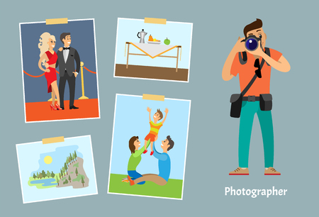 Photographer with digital camera taking photo. Celebrities couple, family on lawn, still life picture and landscape photography vector illustration.
