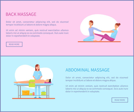 Back and abdominal massage therapy and treatment of body. Set of posters with text sample, massaging masseuses, rubbing man belly with lotion vector