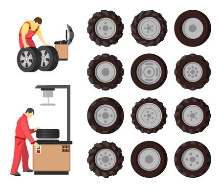 Tire service, vector emblem cartoon style. Workers in uniform, set of new wheels, computer and control panel for diagnostic, changing tires with tools